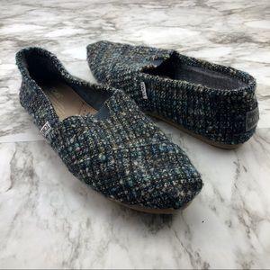 Toms Blue Green Knit Tweed Slip On Loafer 8.5